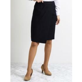 【TAKA-Q:スカート】ストレッチウォッシャブル セットアップセミタイトスカート 紺ストライプ