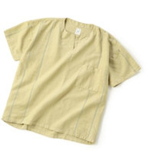 【メンズビギ:トップス】[リメイク商品]ノーカラーシャツ/製品染め