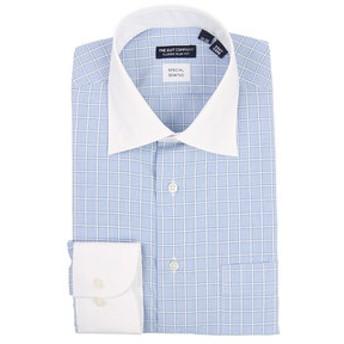【THE SUIT COMPANY:トップス】クレリック&ワイドカラードレスシャツ ウインドーペーン 〔EC・CLASSIC SLIM-FIT〕