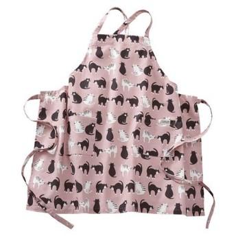 インド綿のエプロン ■カラー:ピンク/ネコ