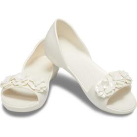【クロックス公式】 クロックス リナ フラワー ドルセー ウィメン Women's Crocs Lina Flower D'Orsay ウィメンズ、レディース、女性用 ホワイト/白 21cm,22cm,23cm,24cm,25cm flat フラットシューズ バレエシューズ ぺたんこシューズ