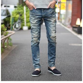 【メンズビギ:パンツ】【BOBSONボブソン×RATTLE TRAP】別注distressed jeans(スキニータイプ)<別注セレクト>