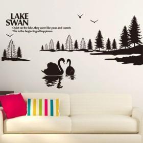 ウォールステッカー ステッカー インテリアシール DIY スワン レイク 湖 部屋 寝室 インテリア 壁装飾 雑貨