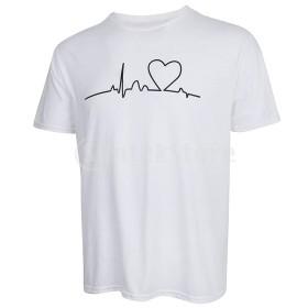 メンズ夏カジュアルビートハートプリントOネック半袖Tシャツ