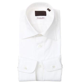 【UNIVERSAL LANGUAGE:トップス】ワイドカラードレスシャツ シャドーストライプ ≪Fabric by Albini≫