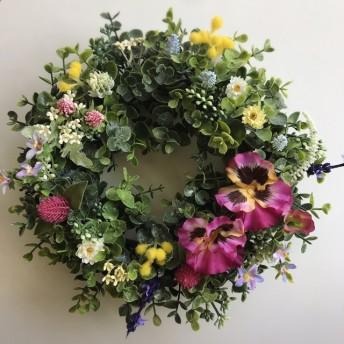 フリルパンジーと小花のユーカリリース アーティフィシャルフラワー