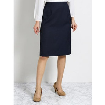 【TAKA-Q:スカート】ハンドウォッシャブル セットアップタイトスカート 紺オックス