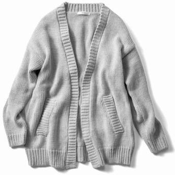 ラフに着たい綿混ざっくりカーディガン〈グレー〉 IEDIT[イディット] フェリシモ FELISSIMO【送料無料】