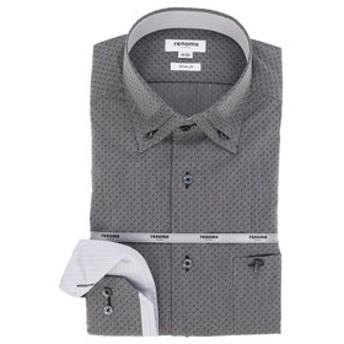 【TAKA-Q:トップス】形態安定スリムフィット 3枚衿ボタンダウン長袖ビジネスドレスシャツ