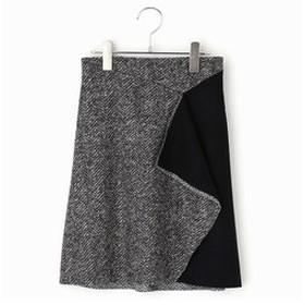 【COMME CA FILLE:スカート】スライバーニット ヘリンボーン スカート
