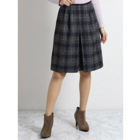 【m.f.editorial:スカート】起毛チェック柄Aライン風フレアースカート