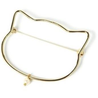 猫顔シルエットが衿もとを飾るブローチ フェリシモ FELISSIMO【送料:450円+税】