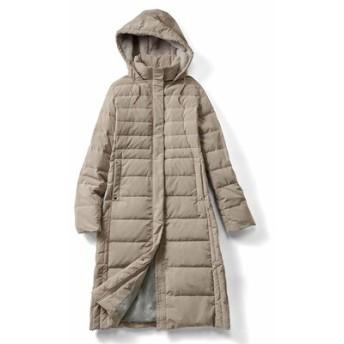 寝袋みたいに最強あったか 美人シルエットの超ロングダウンコート〈ライトベージュ〉 リブ イン コンフォート フェリシモ FELISSIMO【送料無料】