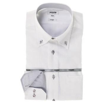 【TAKA-Q:トップス】形態安定スリムフィット ドゥエボットーニボタンダウン長袖ビジネスドレスシャツ
