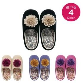 コサージュと小花もようで足もとを飾る シャーロットスリッパ フェリシモ FELISSIMO【送料:450円+税】