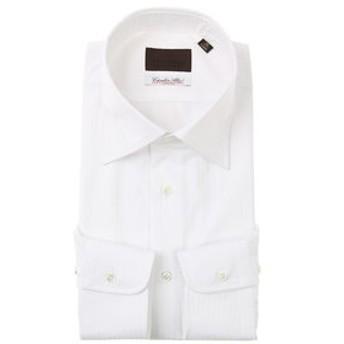 【UNIVERSAL LANGUAGE:トップス】ワイドカラードレスシャツ シャドーストライプ≪Fabric by Albini≫