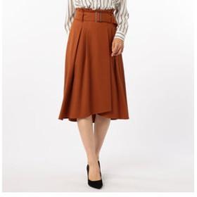 【NOLLEY'S:スカート】トリコチンベルト付タックフレアスカート