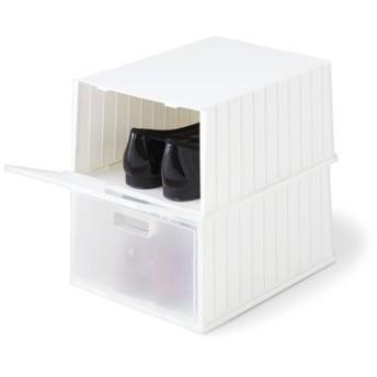重ねて前からふたが開けられる シューズボックス〈ホワイト〉2個セットの会 フェリシモ FELISSIMO【送料:450円+税】