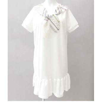 【ANAP:ワンピース】NETオリジナル スカーフ付裾フリルワンピース