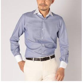 【SHIPS:トップス】SD: 【ALBINI社製生地】ファインフィット ハウンドトゥース ワイドカラー シャツ(ネイビー)