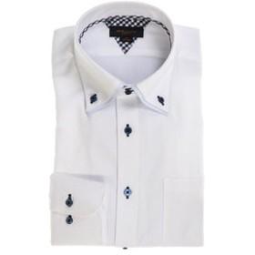 【m.f.editorial:トップス】形態安定スリムフィット 2枚衿ドゥエボタンダウン長袖ビジネスドレスシャツ