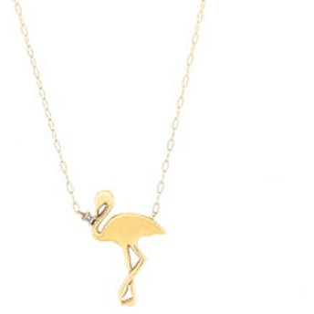 【Milluflora:アクセサリー】K10 イエローゴールド ダイヤモンド フラミンゴ ネックレス