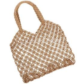 レトロ網状メッシュロープウィーブ中空麦わらニットトートバッグ