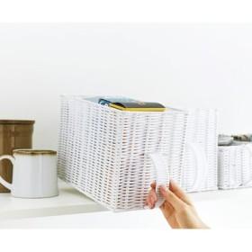ハンドル付き縦長手編みバスケット〈ホワイト〉の会 フェリシモ FELISSIMO【送料:450円+税】