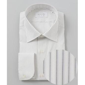 【五大陸:トップス】【日本製】【セミワイド】 SLOWVINTAGE ドレスシャツ ストライプ