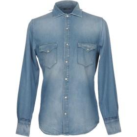 《期間限定 セール開催中》(+) PEOPLE メンズ デニムシャツ ブルー 40 コットン 100%