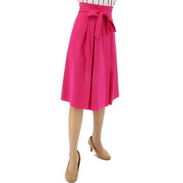 【m.f.editorial:スカート】ハイウエストリボンタック入りフレアースカート ピンク
