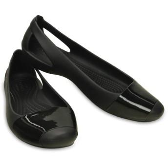 【クロックス公式】 クロックス シエンナ シャイニー フラット ウィメン Women's Crocs Sienna Shiny Flat ウィメンズ、レディース、女性用 ブラック/黒 22cm,23cm,24cm flat フラットシューズ バレエシューズ ぺたんこシューズ 30%OFF