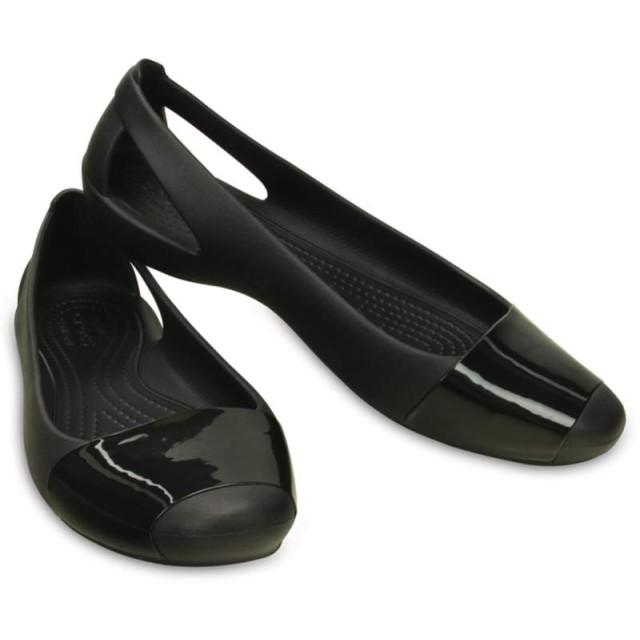 【クロックス公式】 クロックス シエンナ シャイニー フラット ウィメン Women's Crocs Sienna Shiny Flat ウィメンズ、レディース、女性用 ブラック/黒 22cm,23cm,24cm flat フラットシューズ バレエシューズ ぺたんこシューズ 20%OFF
