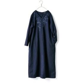 青藍色ワンピース〈レディース〉 サニークラウズ フェリシモ FELISSIMO【送料無料】