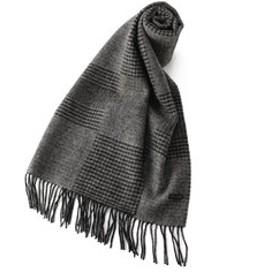 【メンズビギ:ファッション雑貨】グレンチェックへリンボンパネル柄ウールマフラー