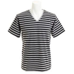 【Super Sports XEBIO & mall店:トップス】ボーダーVネック 半袖Tシャツ CH24M032 GRY/BLK
