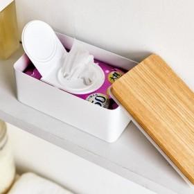 木のふた付き 目隠しスチールボックス〈ホワイト〉の会 フェリシモ FELISSIMO【送料:450円+税】