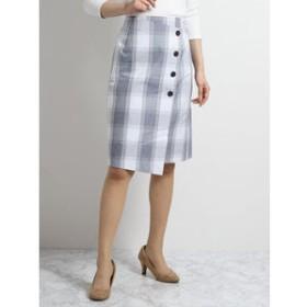 【m.f.editorial:スカート】コットンチェック柄ラップ風タイトスカート