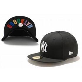 【Super Sports XEBIO & mall店:帽子】59FIFTY UNDERVISOR ニューヨーク・ヤンキース ブラック×ホワイト BROOKLYNマルチカラー 11308540