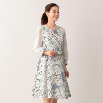 SALE【トゥー ビー シック(TO BE CHIC)】 ラインフラワープリントドレス オフホワイト