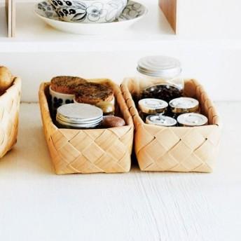 白樺(かば)で編んだような洗えるバスケット〈レクタングル〉の会 フェリシモ FELISSIMO【送料:450円+税】