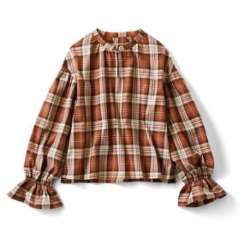きゅっとボリューム袖のチェックトップス〈ブラウンチェック〉 フェリシモ FELISSIMO【送料無料】