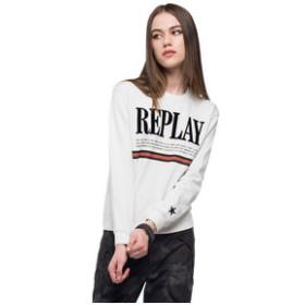 【REPLAY:トップス】ロゴプリントコットンフリース