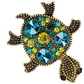 海の動物のカメクリスタルブローチタートルピンバッジジュエリー
