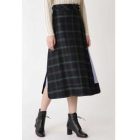 【H/standard:スカート】ブラックウォッチサイドスリットスカート