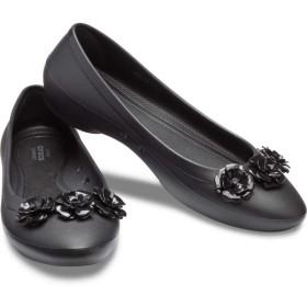 【クロックス公式】 クロックス リナ フラワー フラット ウィメン Women's Crocs Lina Flower Flat ウィメンズ、レディース、女性用 ブラック/黒 22cm,23cm,24cm,25cm flat フラットシューズ バレエシューズ ぺたんこシューズ