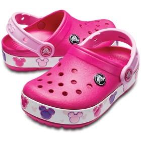 【クロックス公式】 クロックバンド ミッキー ファン ラブ ライツ キッズ Kids' Crocband Fun Lab Disney Mickey Mouse Lights Clog ユニセックス、キッズ、子供用、男の子、女の子、男女兼用 ピンク/ピンク 15.5cm,16.5cm,17.5cm,18cm,18.5cm,19cm,19.5cm,20cm,21cm clog クロッグ サンダル 20%OFF