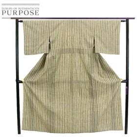 単衣 結城紬 縞 カジュアル ベージュ 茶 シンプル おしゃれ 正絹 着物 きもの リサイクル レディース