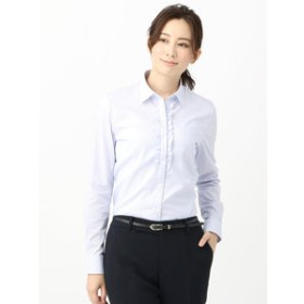 【THE SUIT COMPANY:トップス】【destyle】Easy Care Stretch Blouse フリル&スキッパーカラー