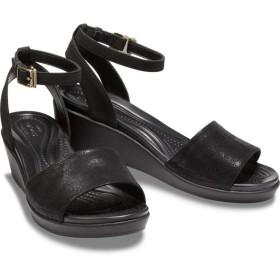 【クロックス公式】 レイ アン シャイニー アンクル ストラップ ウィメン Women's Crocs LeighAnn Shimmer Ankle-Strap Wedge ウィメンズ、レディース、女性用 ブラック/黒 21cm,22cm,23cm,24cm,25cm wedge 40%OFF